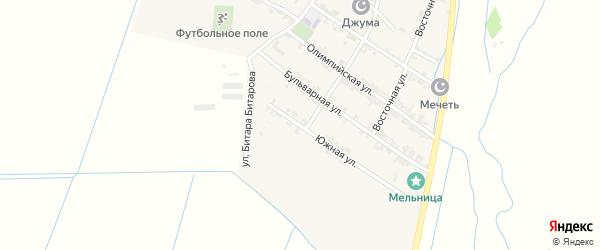 Южная улица на карте села Цияба Ичичали с номерами домов