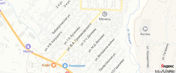 Улица Дачиева Х.Ч. на карте поселка Бамматбекюрта с номерами домов