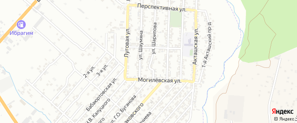 Улица Астемирова Б. на карте поселка Бамматбекюрта с номерами домов
