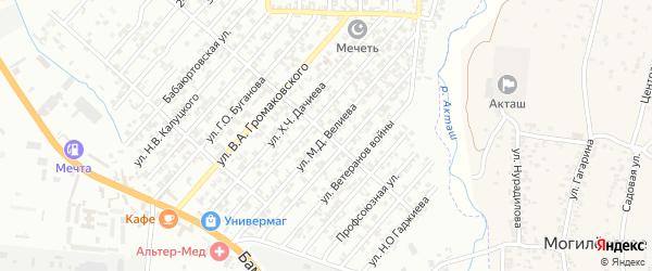 Улица Велиева М.Д. на карте поселка Бамматбекюрта с номерами домов