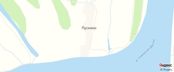 Карта деревни Пускино в Архангельской области с улицами и номерами домов