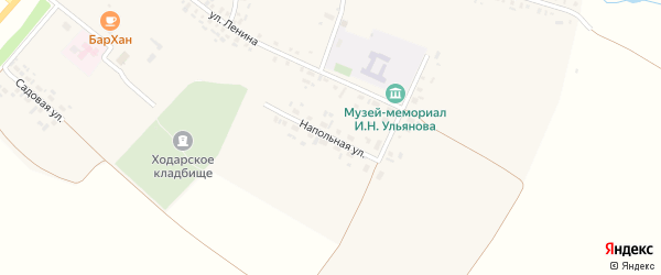 Напольная улица на карте села Ходары с номерами домов