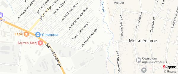 Улица Гаджиева Н.О. на карте поселка Бамматбекюрта с номерами домов
