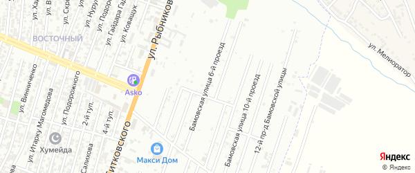 Заречный 6-й проезд на карте Хасавюрта с номерами домов