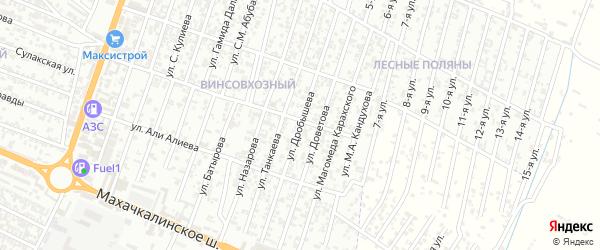Улица Дробышева Ф.В. на карте Хасавюрта с номерами домов