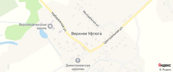 Комсомольская улица на карте села Верхней Уфтюги с номерами домов