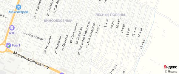 Улица Кандухова М.А. на карте Хасавюрта с номерами домов