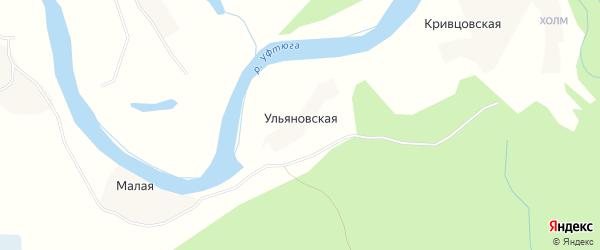 Карта Ульяновской деревни в Архангельской области с улицами и номерами домов