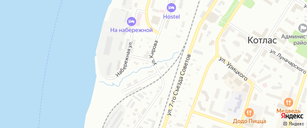 Улица Кирова на карте Котласа с номерами домов