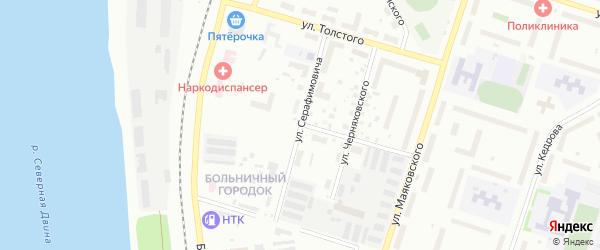Улица Серафимовича на карте Котласа с номерами домов