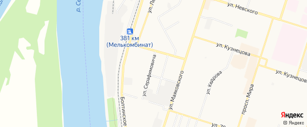 ГСК N34 на карте улицы Серафимовича с номерами домов