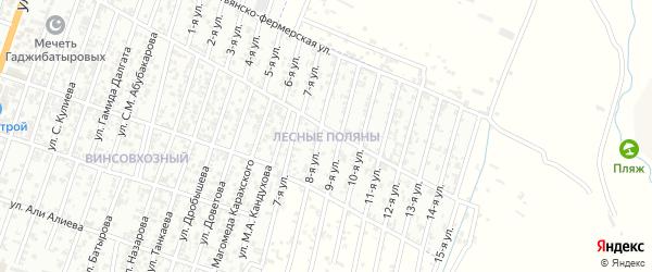 Улица Лесные поляны на карте Хасавюрта с номерами домов