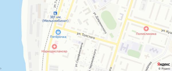 Улица Толстого на карте Котласа с номерами домов
