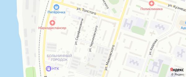 Улица Черняховского на карте Котласа с номерами домов