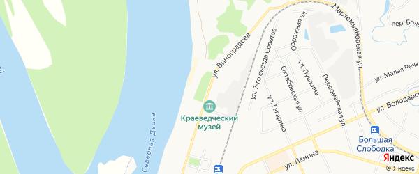 ГСК N103 на карте улицы Виноградова с номерами домов