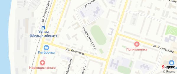 Улица Дзержинского на карте Котласа с номерами домов