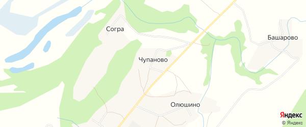 Карта деревни Чупаново в Архангельской области с улицами и номерами домов