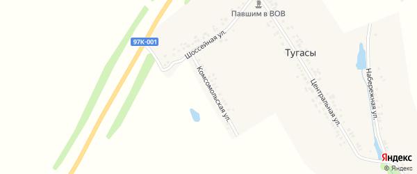 Комсомольская улица на карте деревни Тугасы с номерами домов
