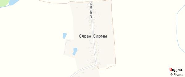 Зеленая улица на карте деревни Сярана-Сирмы с номерами домов