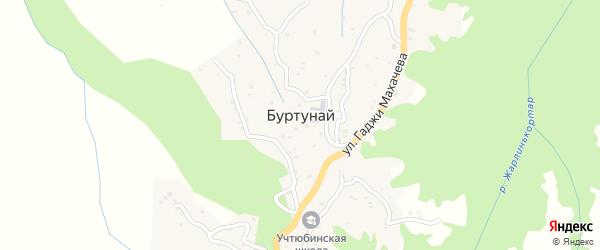 Улица Джамалдинова Госена Ганкалаевича на карте села Буртуная с номерами домов