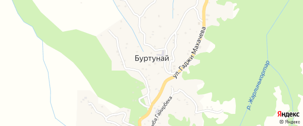 Улица Гаджиева Узайри на карте села Буртуная с номерами домов