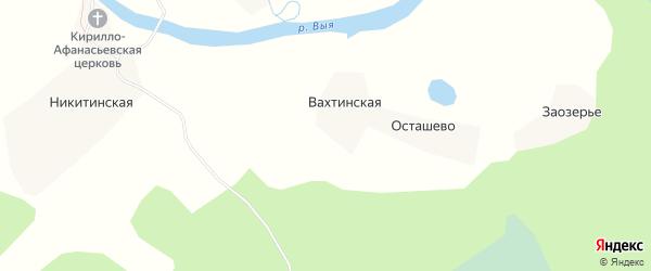 Карта деревни Осташево в Архангельской области с улицами и номерами домов