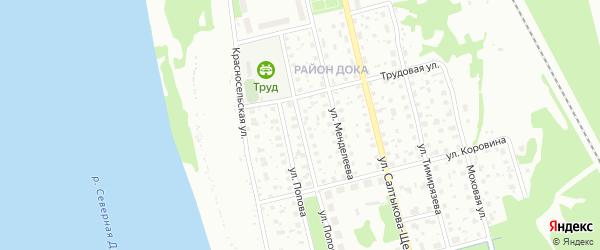 Улица Попова на карте Котласа с номерами домов