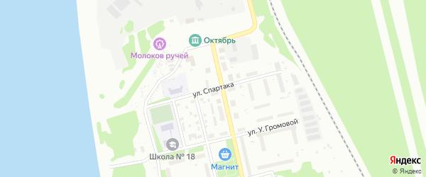 Улица Спартака на карте Котласа с номерами домов