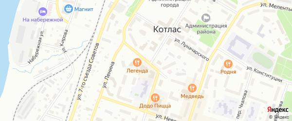Улица Урицкого на карте Котласа с номерами домов