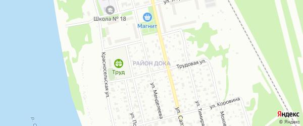 Территория ДОКа на карте Котласа с номерами домов