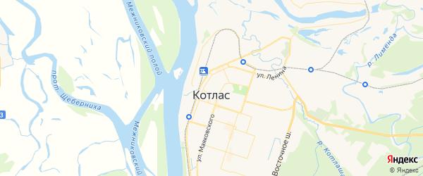 Карта Котласа с районами, улицами и номерами домов: Котлас на карте России