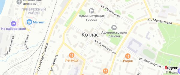 Почтовая улица на карте Котласа с номерами домов