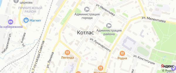 Улица Луначарского на карте Котласа с номерами домов
