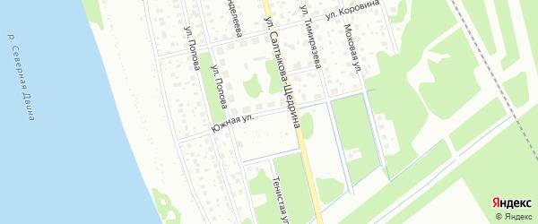 Южная улица на карте Котласа с номерами домов