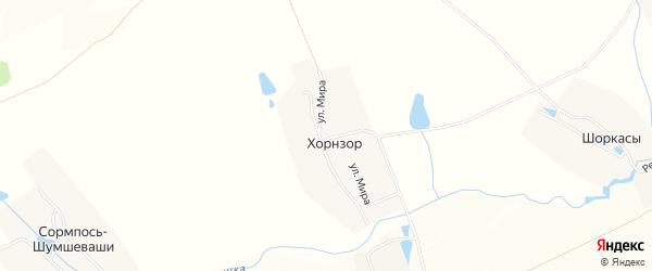 Карта деревни Хорнзора в Чувашии с улицами и номерами домов