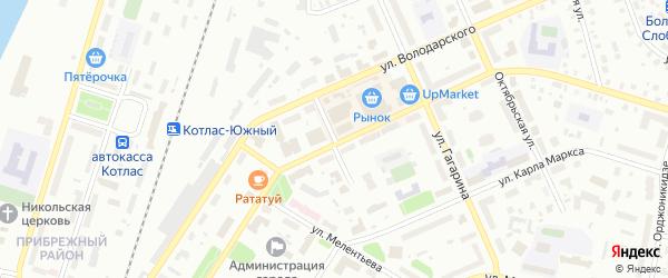 Переулок Ракитина на карте Котласа с номерами домов