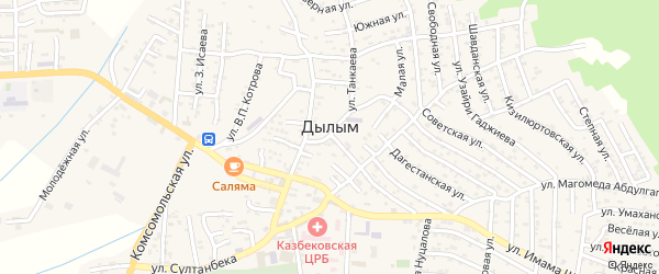 Гусейнова 1-й тупик на карте села Дылыма с номерами домов