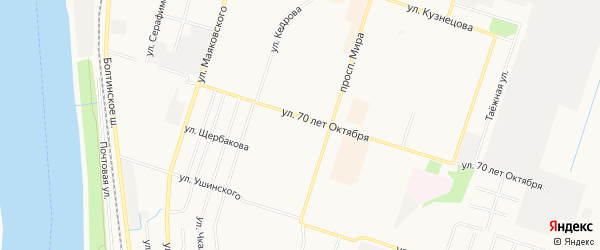 ГСК N22 на карте улицы 70 лет Октября с номерами домов