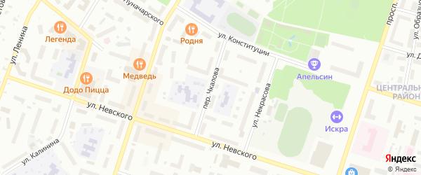Переулок Чкалова на карте Котласа с номерами домов