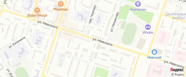 Улица Невского на карте Котласа с номерами домов
