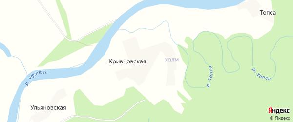 Карта Кривцовской деревни в Архангельской области с улицами и номерами домов