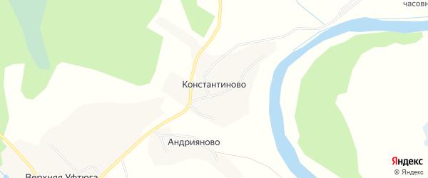 Карта деревни Константиново в Архангельской области с улицами и номерами домов