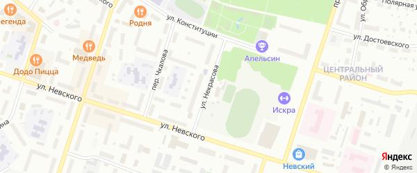 Улица Некрасова на карте Котласа с номерами домов
