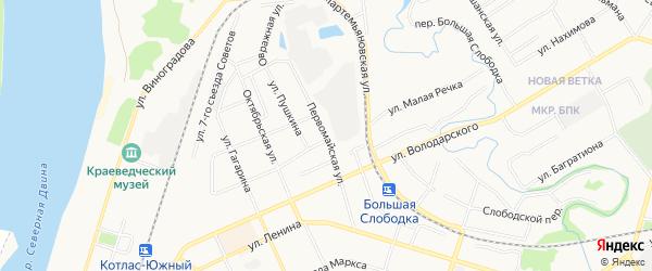 ГСК N152 на карте Первомайской улицы с номерами домов