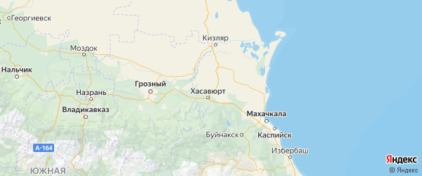 Карта Хасавюртовского района республики Дагестан с городами и населенными пунктами