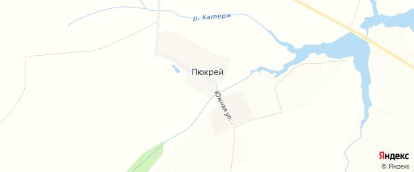 Карта деревни Пюкрея в Чувашии с улицами и номерами домов