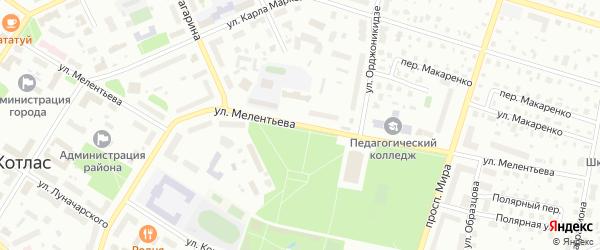 Улица Мелентьева на карте Котласа с номерами домов