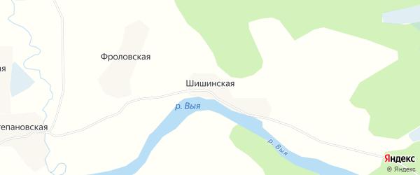 Карта Шишинской деревни в Архангельской области с улицами и номерами домов