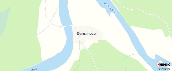Карта деревни Демьяново в Архангельской области с улицами и номерами домов