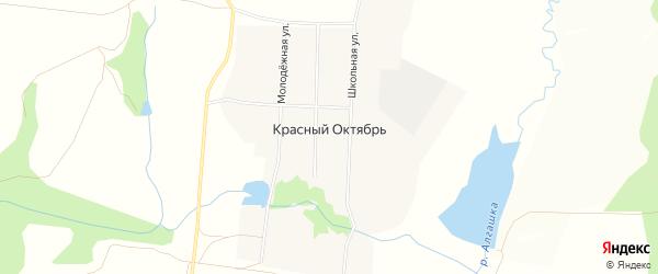 Карта поселка Красного Октября в Чувашии с улицами и номерами домов